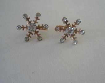 Vintage Gold Tone and Rhinestone Winter Snow Flake Screw Back Earrings