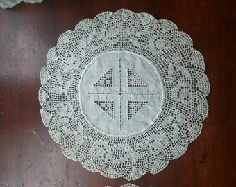 Two Vintage Crocheted Doilies