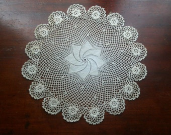 Vintage Hand Crocheted Scalloped Doily with Floral Florettes