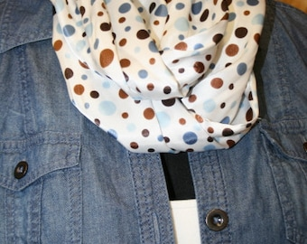 Light Blue, Copenhagen, Chambray, Mocha, Tan, Brown Multi-sized Polka Dot soft infinity scarf