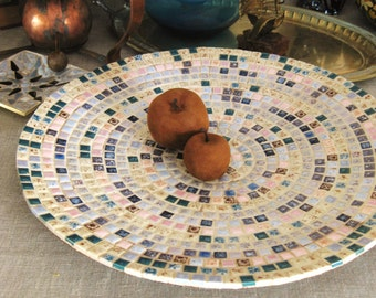 Large Platter , Mosaic , 16 inch , Tile Platter , Oversized Platter , Mid-Century , Large Plate , Serving Platter ,  Fruit Bowl , Large Dish