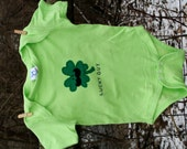 "St. Patrick's Day ""LUCKY GUY"" Shamrock/Lucky Clover Bodysuit for Baby BOYS, perfect for 1st St. Patty's Day Pics"