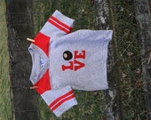 """Buckeye/Ohio LOVE Football T-Shirt for TODDLERS, Love letters with a buckeye as the """"O"""""""