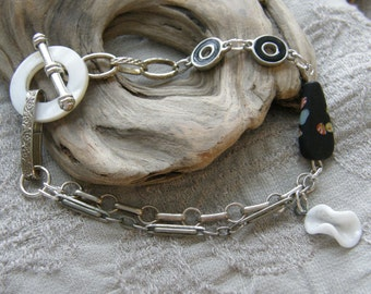 Vintage Assemblage bracelet with antique silver chain and mother of pearl