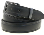 "Men's 1 1/4"" Domed Dress Belt Black Bridle Leather Square Buckle And Loop Set With Satin Black Finish Made In USA"