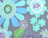Robert Kaufman Minky Print Fabric - In Bloom - Charcoal