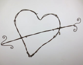 Rustic Barbed Wire Valentine Heart With Cupids Arrow