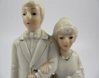 Vintage Wedding Cake Topper Couple Ivory Silver Porcelain, Elegant Bride Groom