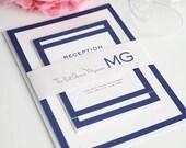 Modern Wedding Invitation, Blue Wedding Invitation, Wedding Invite - Modern Luxe Wedding Invitation - Sample Set
