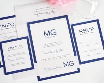 Modern Wedding Invitation, Wedding Invite, Blue, Simple, Unique, Monogram, Borders - Modern Luxe Wedding Invitation - Sample Set