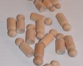 DESTASH-wooden peg people, 8 small and 12 medium