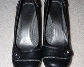 Women's black wedge heel shoes sz 6.5 been in storage never worn