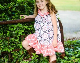 Maisy Ruffle Dress/Tunic with Optional Sash, PDF/Pattern Instant Download sizes 12m up to 14