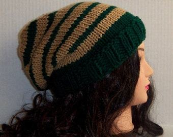 Green and Tan Striped Hat, Men's Slouchy Beanie Hat, Woman's Slouchy Knit Hat