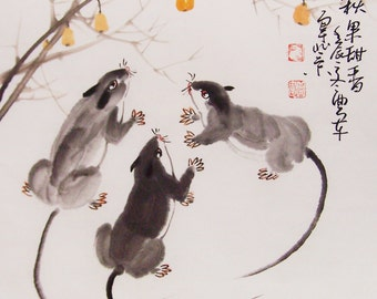 mouse  paintings Original  chinese  painting oriental art watercolour-mouse with fruit  No.3