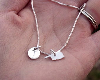 Circle Sterling Silver Initial Pendant