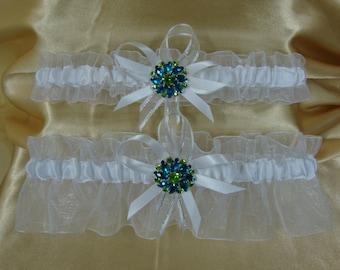 Sheer White Wedding Garter Set with Blue and Green Rhinestone Deco