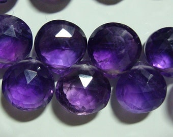 Beautiful Baby African Royal Purple Amethyst Faceted Puff Heart Briolette, 7-8mm, 6 pcs