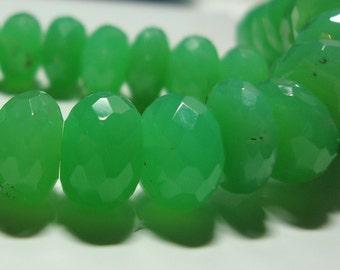 AA Australia Chrysoprase Gemstone 3D Faceted Rondelle Beads, Rare, Huge, 9.5-10.5mm, 6 pcs