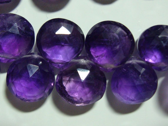 Beautiful baby african royal purple amethyst faceted puff heart