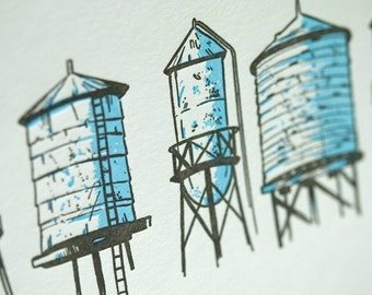 SALE - Letterpress Water Towers card - 60% off