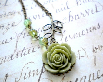 Flower Necklace Green Rose Necklace Leaf Necklace Rose Pendant Necklace Flower Jewelry Antique Brass Leaf Charm Necklace Green Necklace