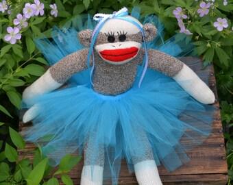 Princess Sock Monkey Doll, Aqua Tutu