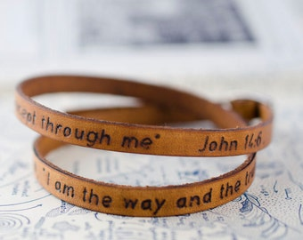 Scripture Bible Verse Leather Wrap Bracelet - John 14:6