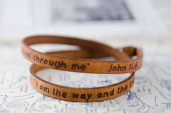 Scripture Bible Verse Leather Wrap Bracelet - John 14:6