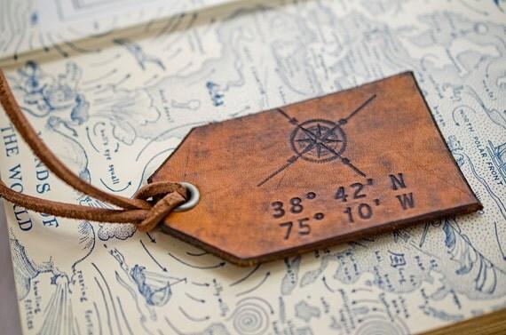 Travel Leather Luggage Tag, Custom Leather Tag, Personalized Luggage Tag, Compass Rose Latitude Longitude- Hand Carved Leather Luggage Tag