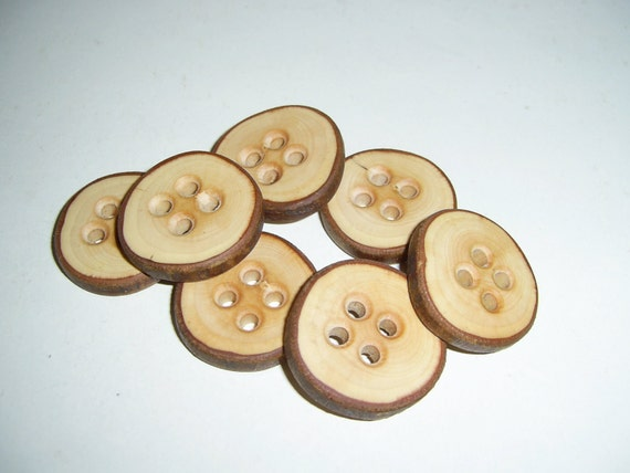 "7 Handmade  wild cherry wood Tree Branch Buttons with Bark, accessories (1,25"" diameter x 0,23"" thick)"