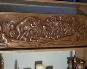 THE PARTY (hard maple) Hand carved relief by G. Mundell 1990