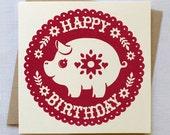 Pig Birthday Card - Hand Printed