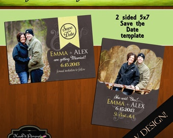 INSTANT Download Save the Date Template/PSD file Crazy Little Thing called Love 5x7