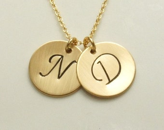 Two Initial Disc Necklace in Gold, Free US Shipping