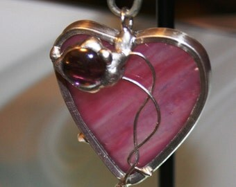 Pink Stained Glass Valentine Heart Pendant  Love