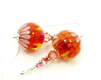 Orange & Pink Earrings, Lampwork Earrings, Glass Earrings, Glass Bead Earrings, Beadwork Earrings, Colorful Earrings, Lampwork Jewelry