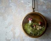Better Gnomes and Gardens. Woodland Moss Terrarium Brass Locket Necklace