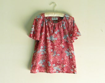 Vintage Floral Blouse Sheer Short Sleeve Shirt Spring Shirt Summer Shirt