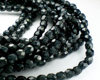 Jet Black 3mm Picasso Czech Glass Fire Polished Faceted Round Beads 100 pcs. 3mm/164