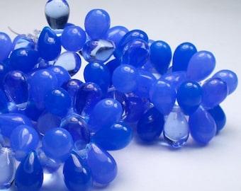 Czech Glass Drop Beads 9mm Three Shades of Blue 25 pcs. D-0002