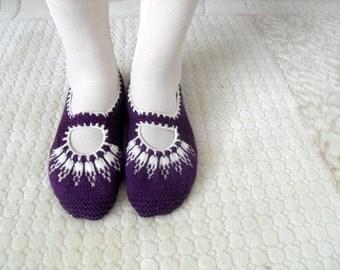 SALE Women socks, Handmade Slippers, Turkish Knitted Slippers, Authentic footwear, Stylish foot wear, Aubergine Purple Slippers