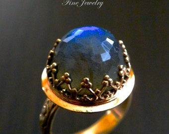 14k Labradorite Crown Ring