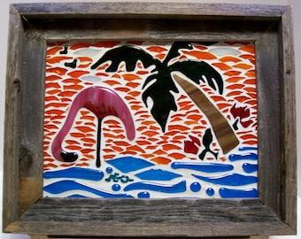 Mosaic, Mosaic Art, Flamingo, Mosaic, Florida Flamingo, Mosiac, Seaside Decor