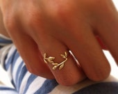 Gold Branch Ring Adjustable