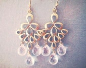 Gold Clear Chandelier Earrings,   Rock Crystal Quartz Pears, Bridesmaids Jewelry, Bridal Jewelry
