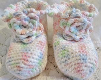 Pastel Ombre Newborn Baby Girl Booties