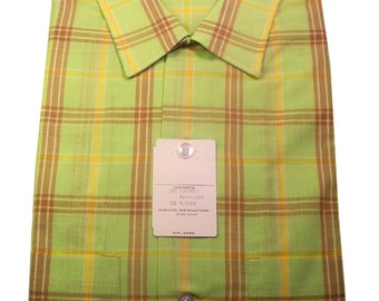Vintage Bright Green Plaid Rockabilly Shirt Size 15-1/2 Medium DEADSTOCK Never Worn NOS