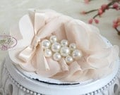 Pearlynn collection: 2 pcs Silk Chiffon Pearl Fabric Flowers - CREAM floral embellishments Layered Bouquet fabric flowers