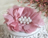 New: Pearlynn Collection - 2 pcs Silk Chiffon Fabric Flowers with Pearls - DUSTY ROSE Pink  floral embellishments Layered Bouquet flowers